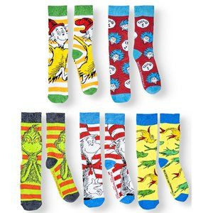 Dr. Seuss Men's Casual Crew Socks 5 Pack Grinch Nw